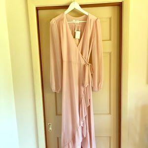 Wayf Meryl Wrap Dress - Small - ballet pink
